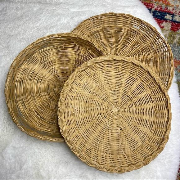 ⭐️ Vintage Set 3 Flat Basket Trays Wall Art Wicker